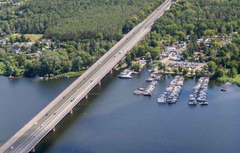 Pleasure boat marina with docks and moorings on the shore area Yachthafen Ringel in Werder (Havel) in the state Brandenburg, Germany