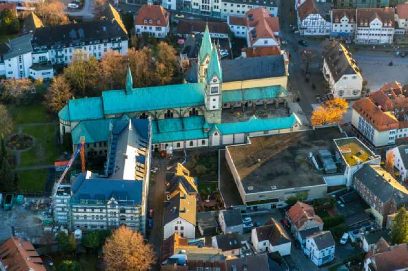 Aerial view of the church building Pilgrimage Basilica of the Visitation of the Virgin Mary and the renovation work at the former Franciscan monastery in Werl on Walburgisstrasse in Werl in the German state of North Rhine-Westphalia