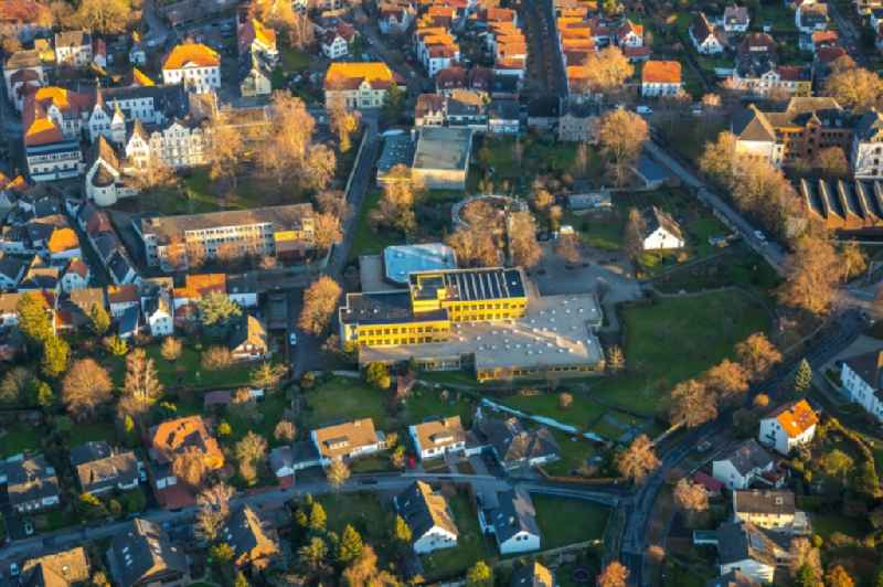 Aerial view of the renovation work on the ruins of the former electoral town palace at the Ursulinengymnasium Ursulinenrealschule in Werl in the German state of North Rhine-Westphalia, Germany