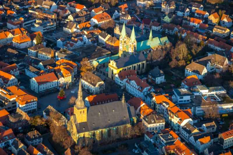 Aerial view of the Old Town with Pilgrimage Basilica of the Visitation of the Virgin Mary on Walburgisstrasse and Old Pilgrimage Church with Franciscan Monastery Renovation and St. Walburga's Catholic Church on the Market Square with Christmas Tree on Klosterstrasse in Werl, North Rhine-Westphalia, Germany