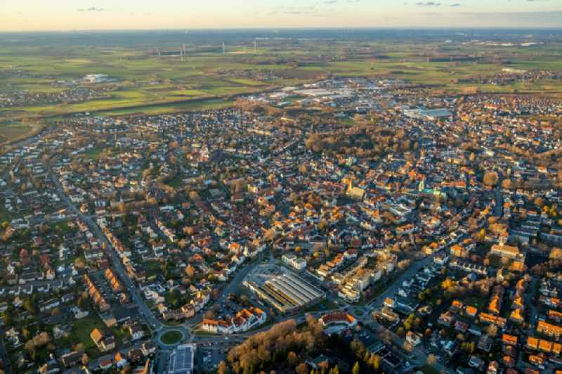 Aerial view of the town with Old Town and Pilgrimage Basilica of the Visitation of the Virgin Mary in Walburgisstrasse and Old Pilgrimage Church and Franciscan Monastery in Werl in the German state North Rhine-Westphalia, Germany