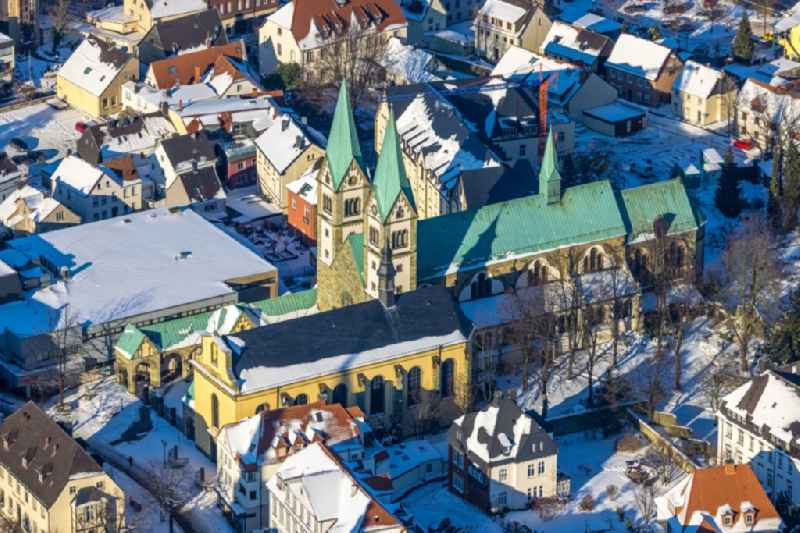 Wintry, snow-covered aerial view of the church building pilgrimage basilica 'Mariae Visitation' on Walburgisstrasse in Werl in the state of North Rhine-Westphalia