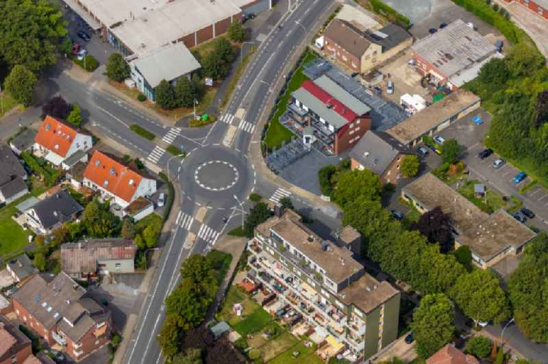 Traffic management of the roundabout road of Bahnhofstrasse and of Ottostrasse in Werne in the state North Rhine-Westphalia, Germany.