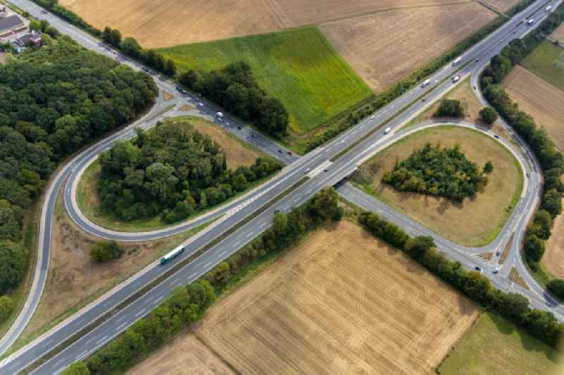 Routing and traffic lanes during the highway exit and access the motorway A 1 at the Nordlippestrasse in Werne in the state North Rhine-Westphalia, Germany.