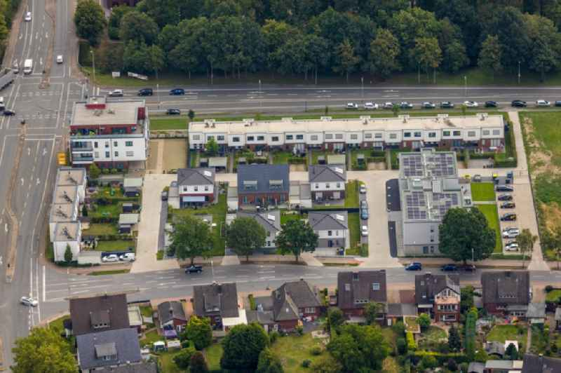 Residential area of a multi-family house settlement in the district Ruhr Metropolitan Area at the Grafenweg in Werne in the state North Rhine-Westphalia.