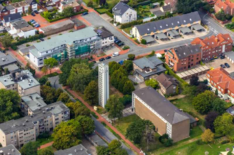 Construction site for reconstruction and modernization and renovation of a building to the creation of penthouse apartments near St. Johannes in Werne in the state North Rhine-Westphalia, Germany. Further information at: Korte Holzbau & Zimmerei KG.