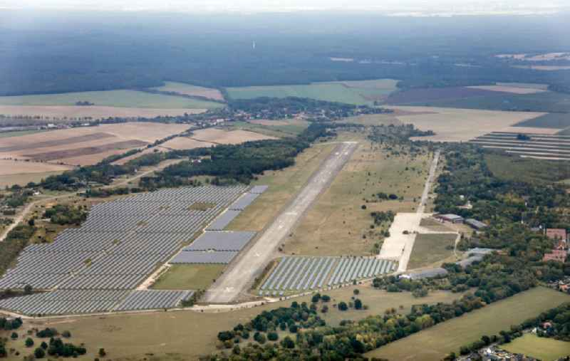 Solar power plant and photovoltaic systems on the airfield in Werneuchen in the state Brandenburg, Germany