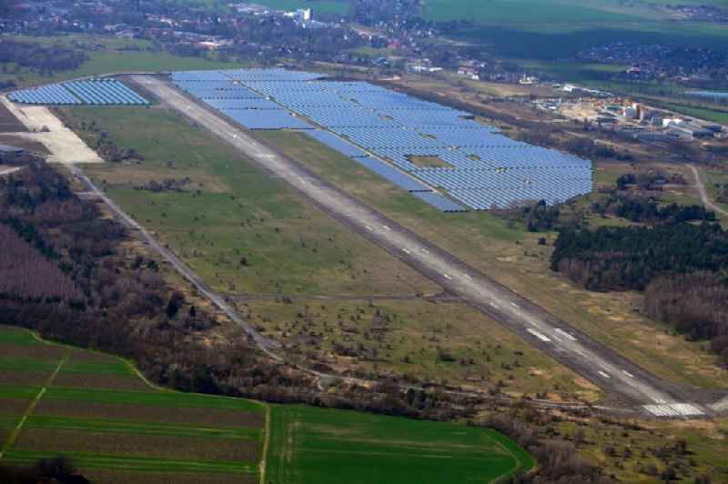 Solar power plant and photovoltaic systems on airfield in Werneuchen in the state Brandenburg, Germany