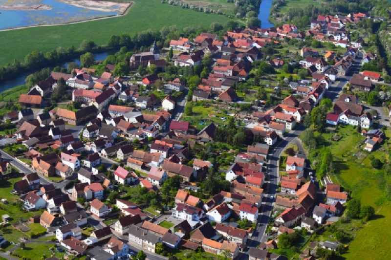 Town View of the streets and houses of the residential areas in Werra-Suhl-Tal in the state Thuringia, Germany