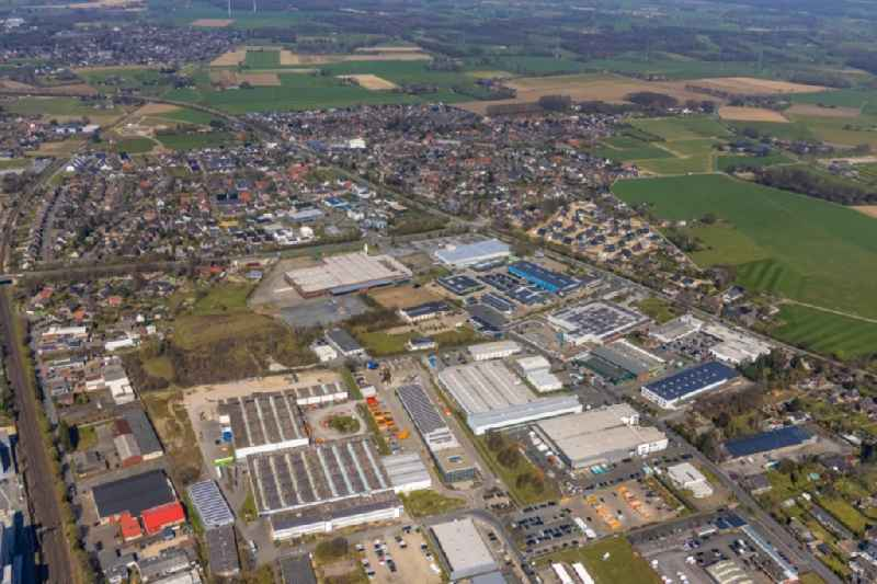 Industrial estate and company settlement in Wesel at Ruhrgebiet in the state North Rhine-Westphalia, Germany