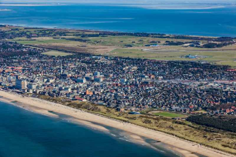 Townscape on the seacoast of North Sea island sylt in Westerland in the state Schleswig-Holstein, Germany.