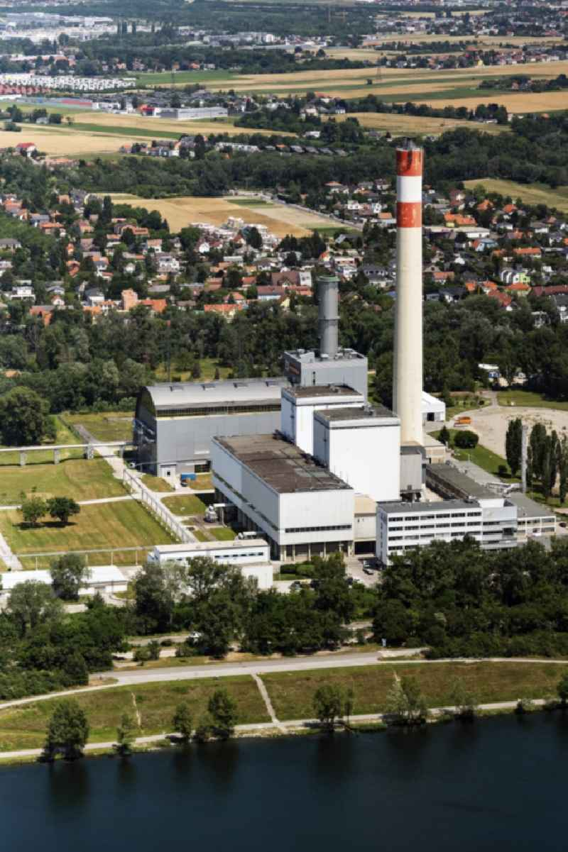 Power plants and exhaust towers of thermal power station KWK-Kraftwek Donaustadt in Vienna in Austria.