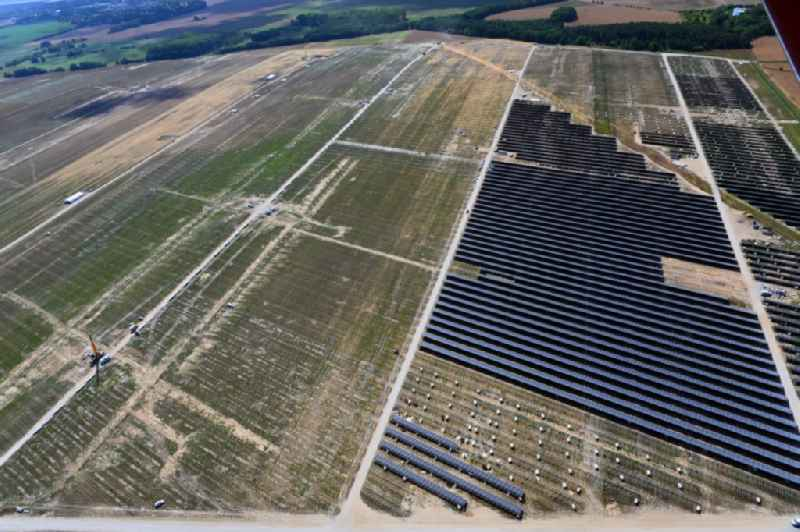 Construction site and assembly work for solar park and solar power plant in Willmersdorf in the state Brandenburg, Germany