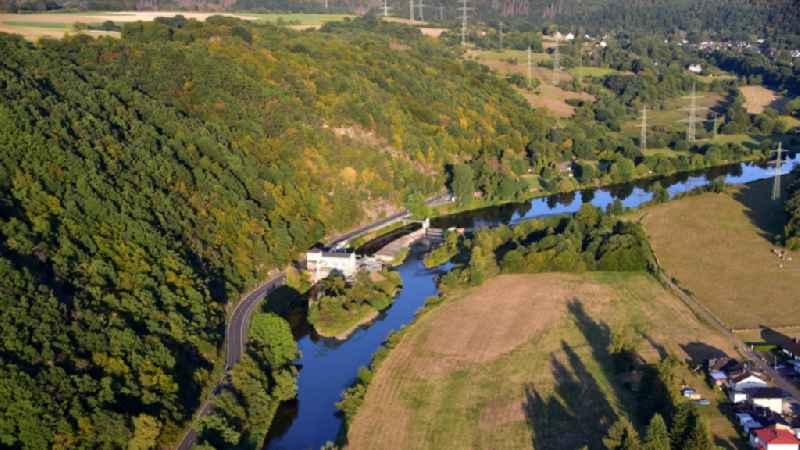 Structure and dams of the waterworks and hydroelectric power plant ' Unkelmuehle ' in the district Alzenbach in Windeck in the state North Rhine-Westphalia, Germany