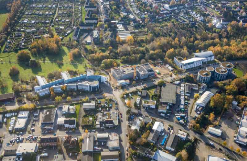 Campus university area with new construction site for extension of 'Universitaet Witten-Herdecke' on Alfred-Herrhausen-Strasse in Witten in the state North Rhine-Westphalia, Germany