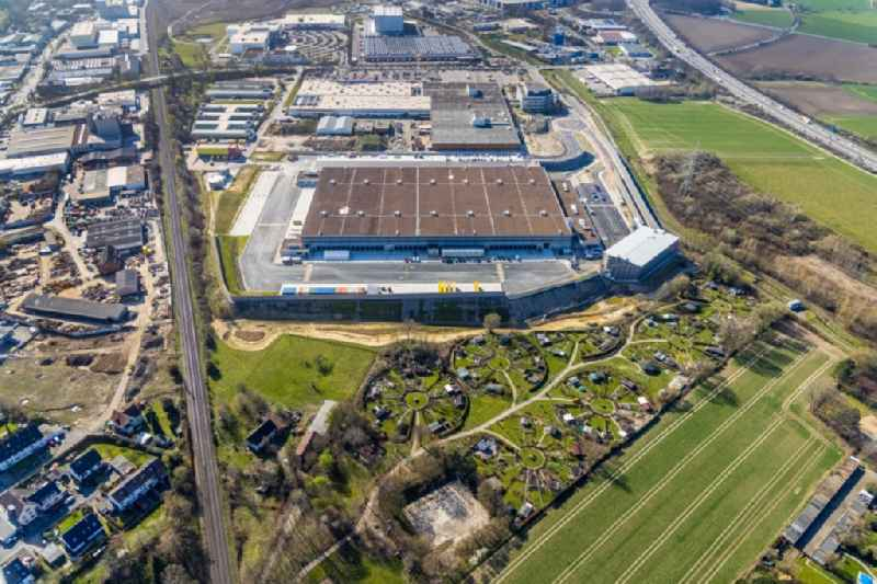 Building complex and grounds of the logistics center with a new 'Amazon' building on Menglinghauser Strasse - Siemensstrasse in the district Ruedinghausen in Witten at Ruhrgebiet in the state North Rhine-Westphalia, Germany