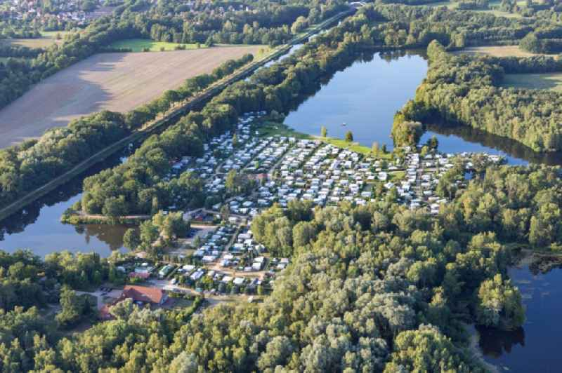Camping Forellensee with caravans and tents in Witzeeze in the state Schleswig-Holstein, Germany.
