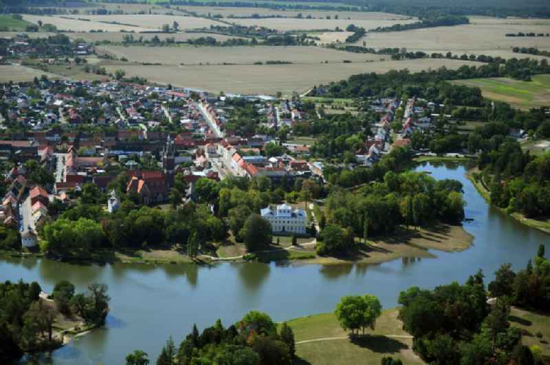 Village on the banks of the area Kraegengraben - Woerlitzer See in Woerlitz in the state Saxony-Anhalt, Germany.