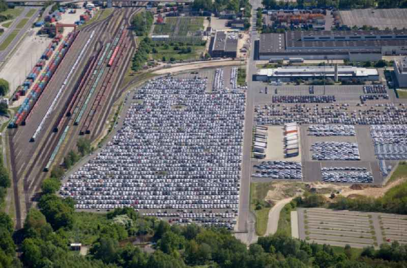 Marshalling yard and freight station of the Deutsche Bahn in Wolfsburg near the parking area of VW Volkswagen Factory in the state Lower Saxony.