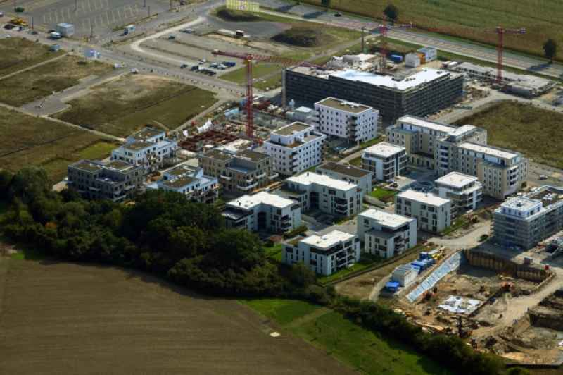Residential construction site with multi-family housing development- on the ' Steimker Gaerten ' in the district Hellwinkel in Wolfsburg in the state Lower Saxony, Germany