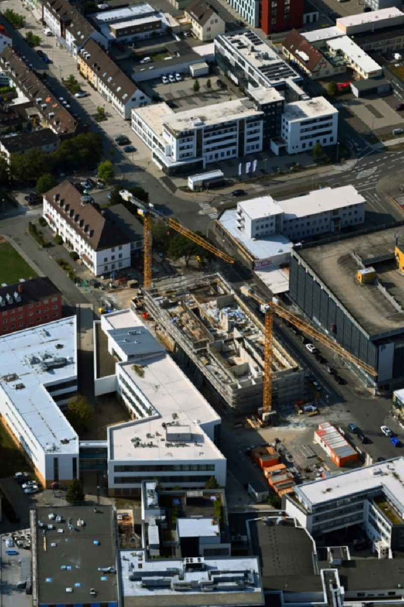 Campus university area with new construction site of Ostfalia Hochschule fuer ongewondte Wissenschaften on street Poststrasse in Wolfsburg in the state Lower Saxony, Germany