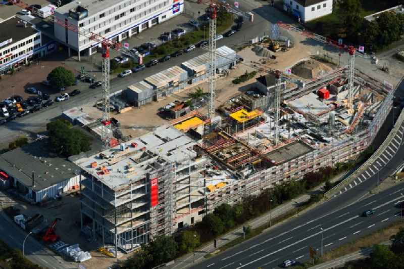 Construction site to build a new office and commercial building ' Berliner Haus ' in the district Hesslingen in Wolfsburg in the state Lower Saxony, Germany