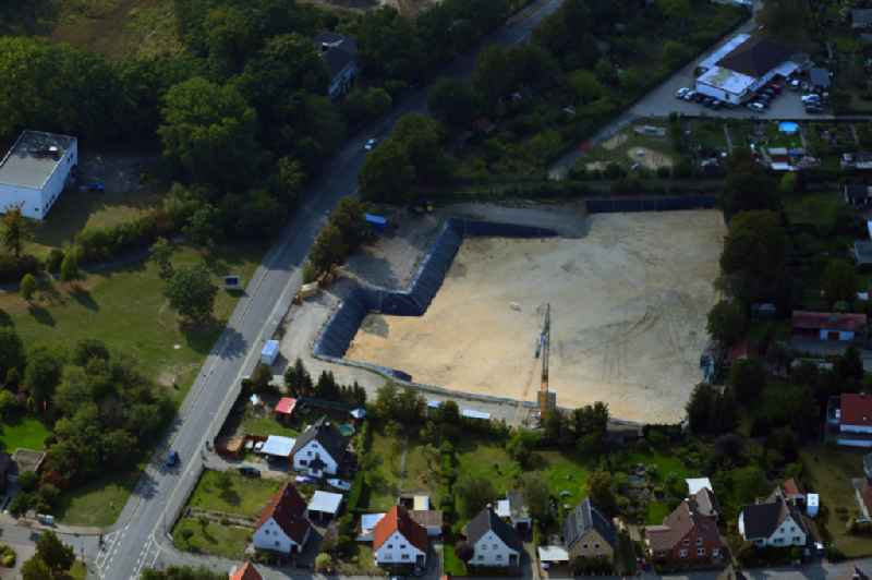 Construction site to build a new multi-family residential complex of 'Sandkruggaerten' with nursing campus on Sandkrugstrasse in the district Reislingen in Wolfsburg in the state Lower Saxony, Germany