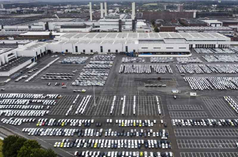 Automobiles - cars on the parking spaces in the outdoor area of VW - Volkswagenwerk in the district Kaestorf in Wolfsburg in the state Lower Saxony, Germany