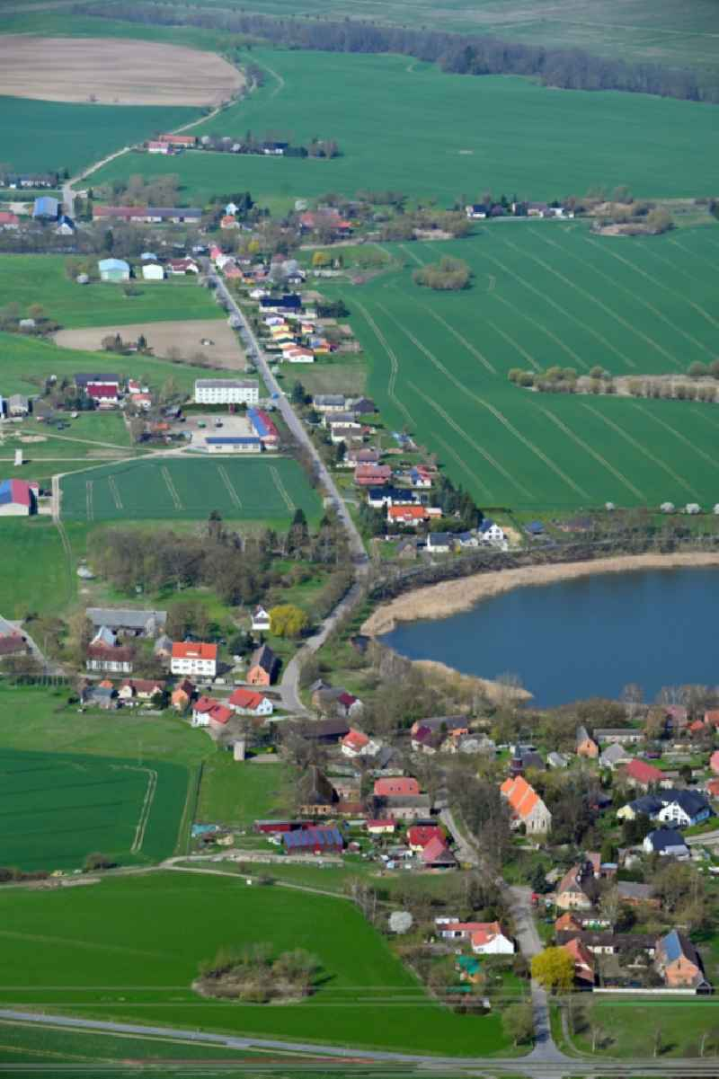 Village on the banks of the area lake of Dorfsee in Wollin in the state Mecklenburg - Western Pomerania, Germany