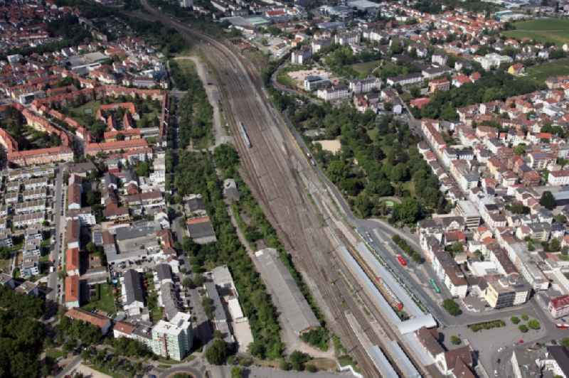 Track progress and building of the main station of the railway in Worms in the state Rhineland-Palatinate, Germany