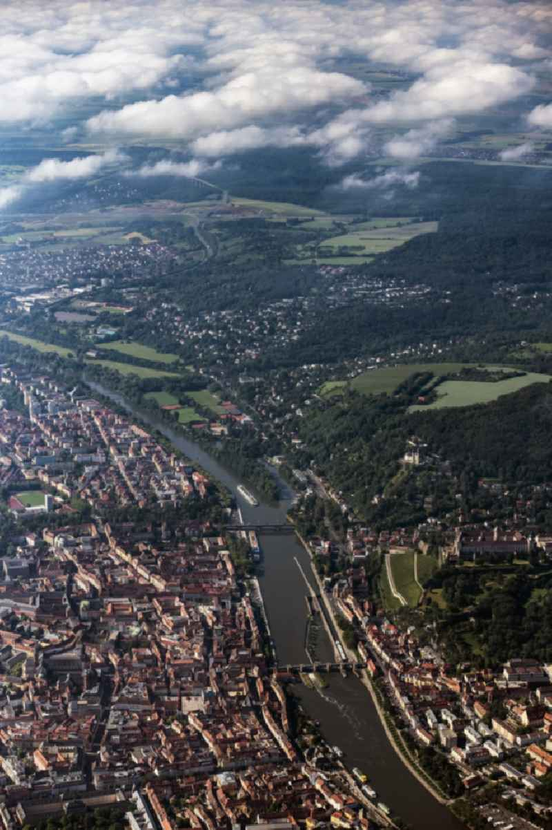 Town on the banks of the river of the Main river in Wuerzburg in the state Bavaria, Germany.