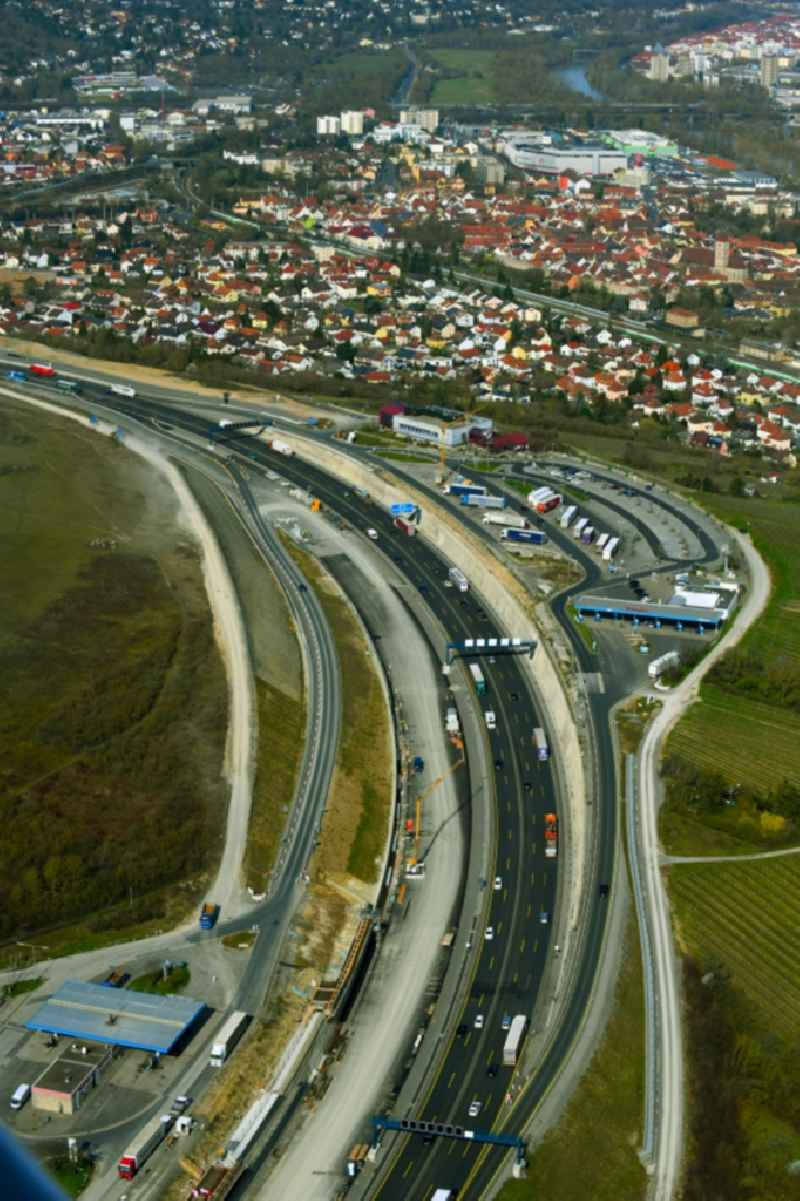 New construction 'Talbruecke Heidingsfeld' of the motorway route of the BAB3 in the district Heidingsfeld in Wuerzburg in the state Bavaria, Germany