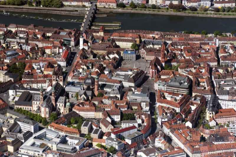 City view on the river bank of the Main river in the district Altstadt in Wuerzburg in the state Bavaria, Germany