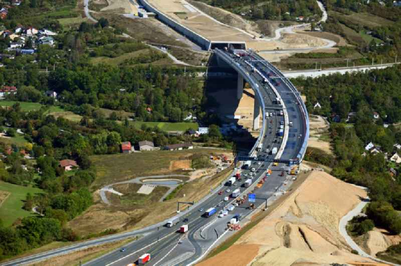 Construction work at the Heidingsfeld valley bridge of the federal motorway A3 in the South of Wuerzburg in the state of Bavaria