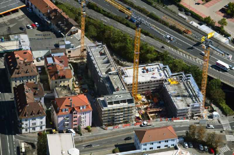 Construction site for the multi-family residential building on Urlaubstrasse in Wuerzburg in the state Bavaria, Germany