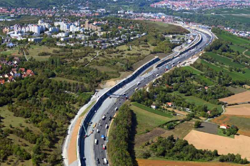 Lanes of the motorway- route and course of the A3 in Wuerzburg in the state Bavaria, Germany