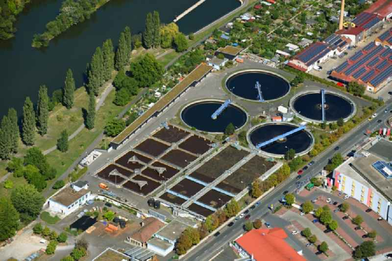 Sewage works Basin and purification steps for waste water treatment in the district Zellerau in Wuerzburg in the state Bavaria, Germany