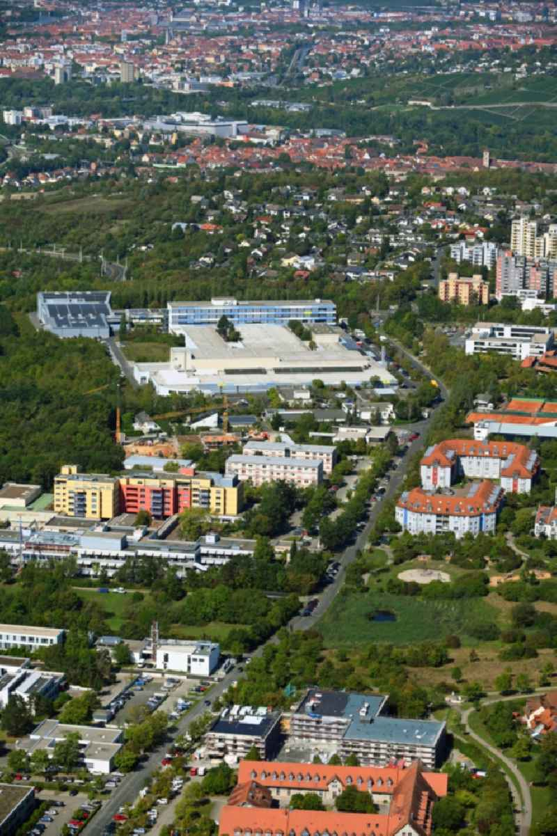 Mixing of residential and commercial settlements in the district Heuchelhof in Wuerzburg in the state Bavaria, Germany