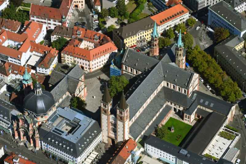 Church building of the cathedral in the old town in Wuerzburg in the state Bavaria, Germany