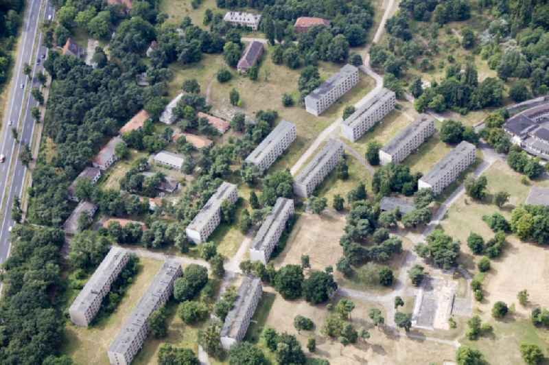 Remains of the Olympic village s and later built during the Russian occupation of post-war block - houses for army personnel in Elstal in Brandenburg.
