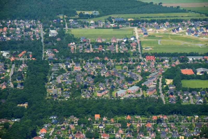 Single-family residential area of settlement at the Berliner Ring and Hamburger Ring in Wyk in Foehr in the state Schleswig-Holstein