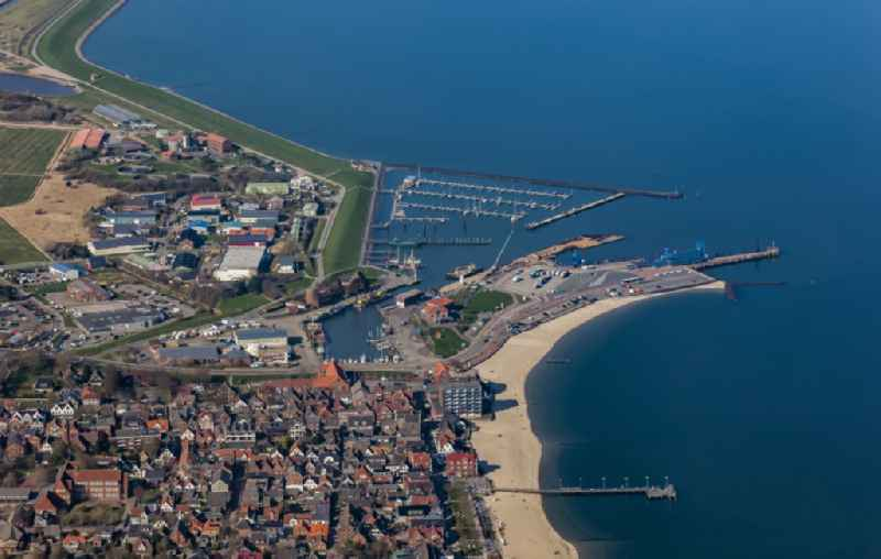 Harbour arrangements and ferry port in the sea coast of the island Foehr in Wyk on Foehr in the federal state Schleswig-Holstein, Germany