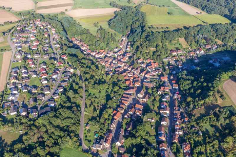 Village - view on the edge of agricultural fields and farmland in Zaberfeld in the state Baden-Wurttemberg, Germany.