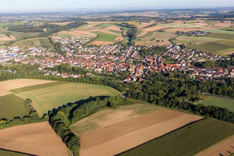 Village - view on the edge of agricultural fields and farmland in Zaisenhausen in the state Baden-Wurttemberg, Germany.