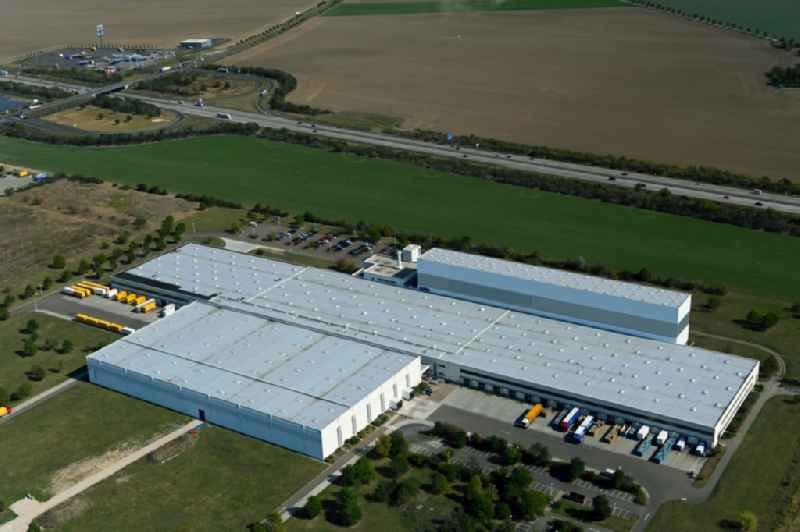 Building complex and grounds of the logistics center of 'Arvato Distribution GmbH & Arvato Supply Chain Solutions SE' on Loesnitz Mark in the district Grosszoeberitz in Zoerbig in the state Saxony-Anhalt, Germany