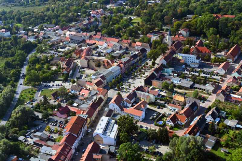 Town View of the streets and houses of the residential areas in Zossen in the state Brandenburg, Germany