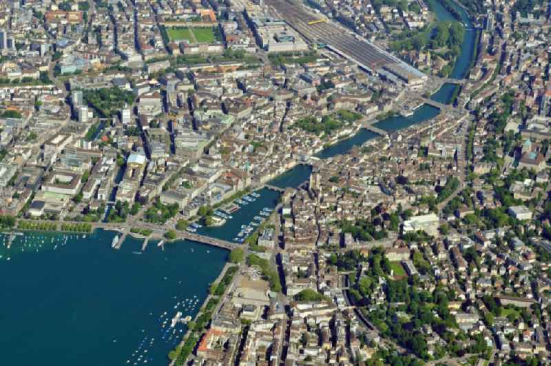 Cityscape of Zurich at the Lake Zurich in the Switzerland. Zurich is watered by the Limmat, an outflow of the Lake Zurich.