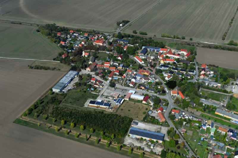 Village view on the edge of agricultural fields and land in Zwebendorf in the state Saxony-Anhalt, Germany