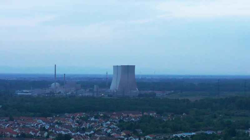 Demolition of the NPP cooling towers- NPP nuclear power plant EnBW Kernkraft GmbH in Philippsburg in the state Baden-Wurttemberg, Germany