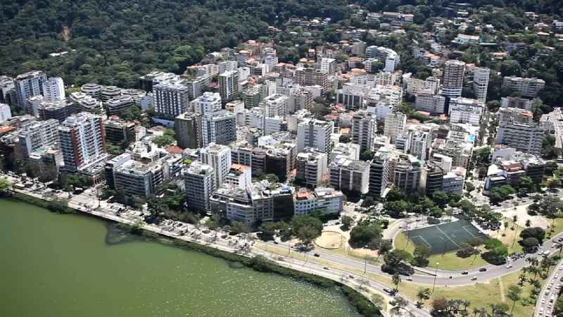 City view on sea coastline of Lagoa Rodrigo de Freitas in the district Jardim Botanico in Rio de Janeiro in Brazil